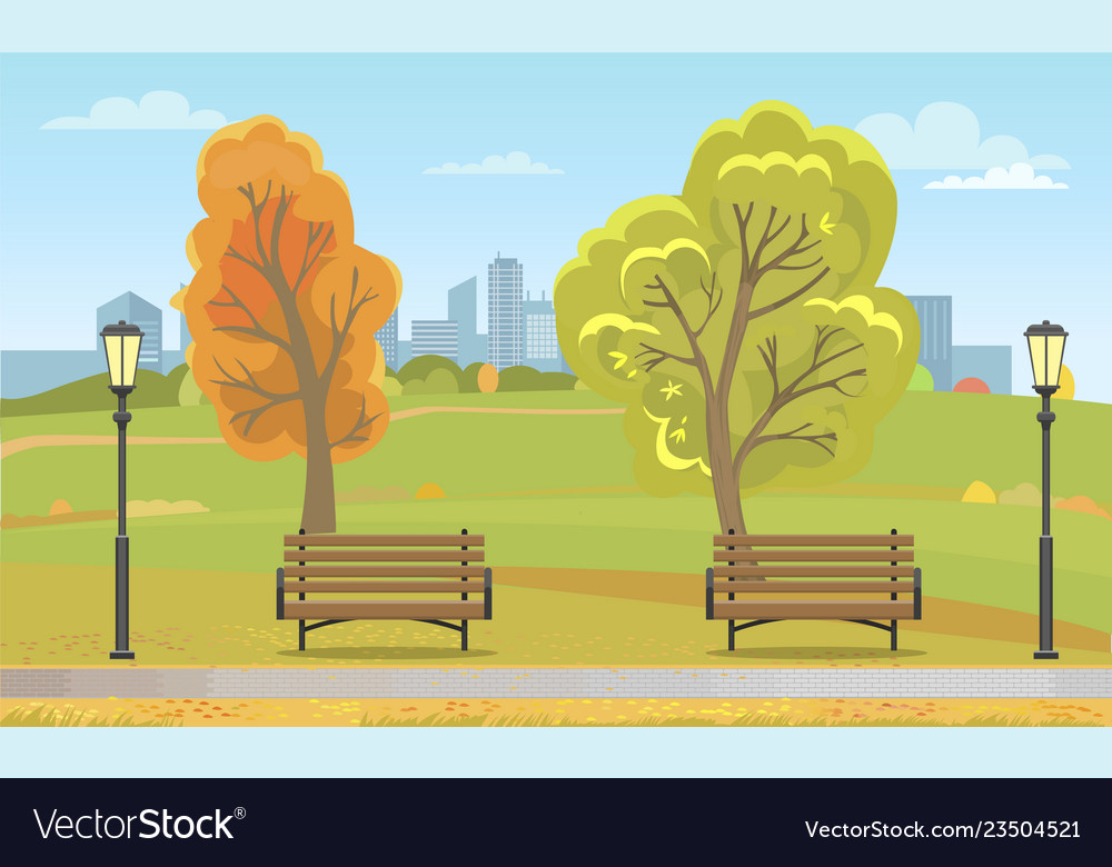 Autumn city park with benches and streetlight