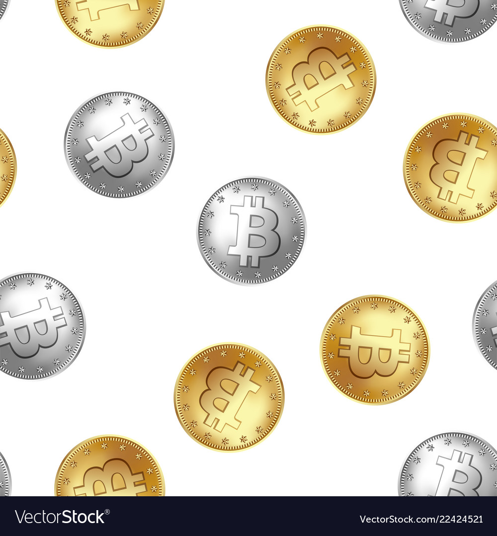 Bitcoin golden and silver coin seamless pattern