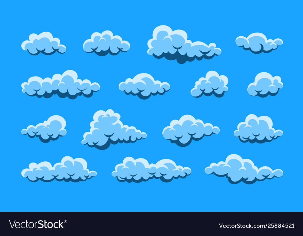 Cloud abstract white cloudy set isolated on blue