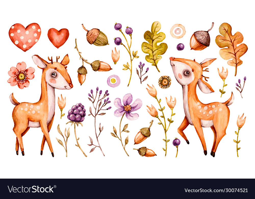 Cute badeer forest watercolor nursery