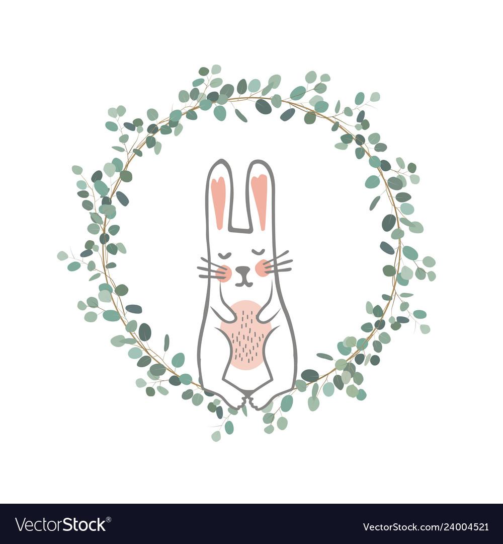 Easter eucalyptus wreath with a sweet bunny