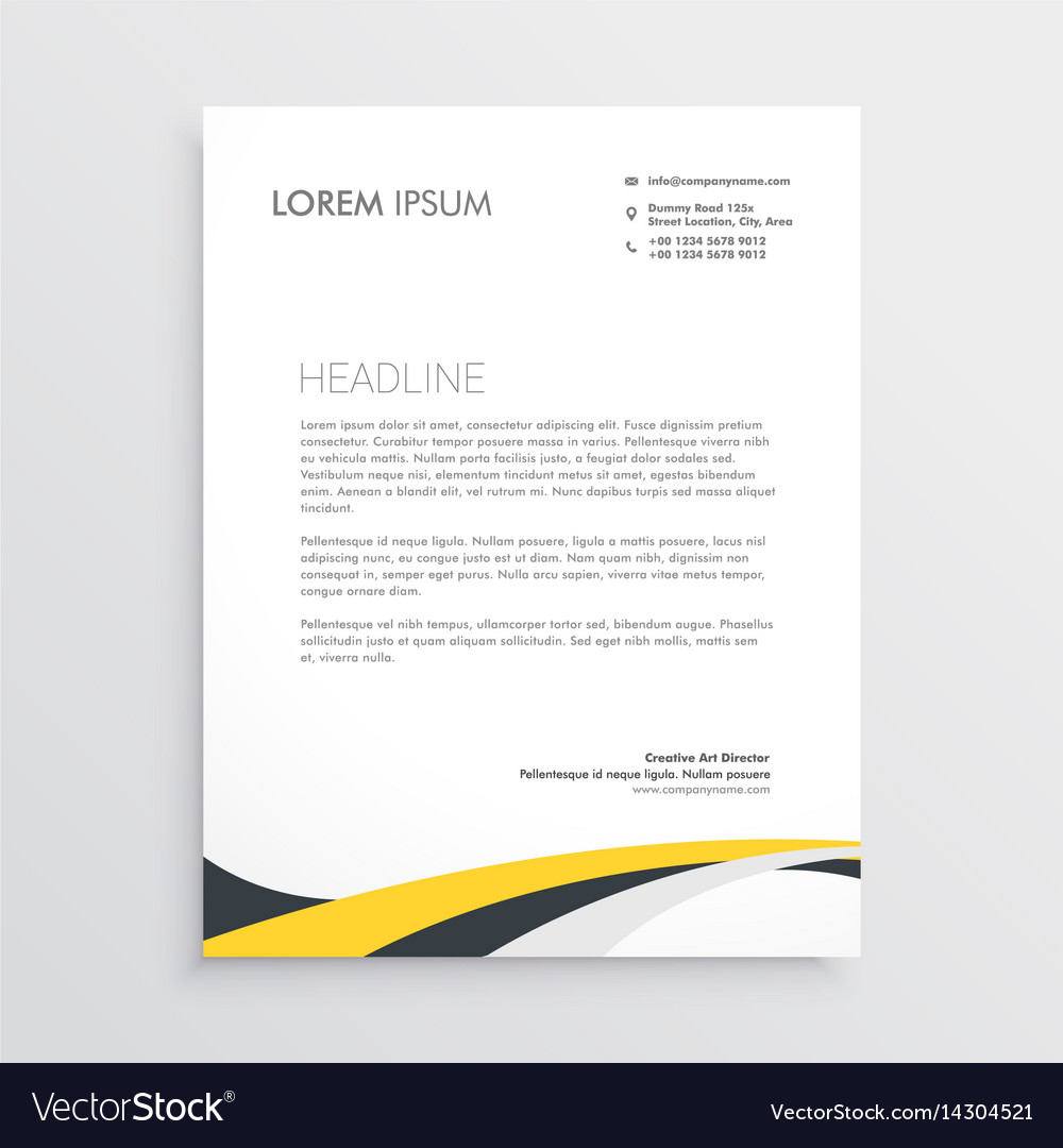 Elegant yellow and gray waves letterhead design