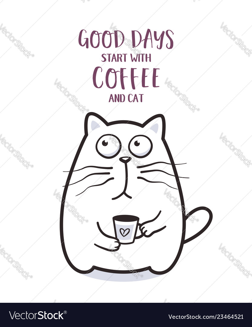 Funny fat cat with coffee mug for greeting card