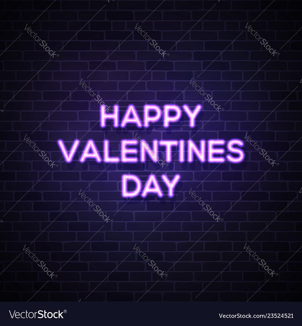 Happy valentines day text street neon sign