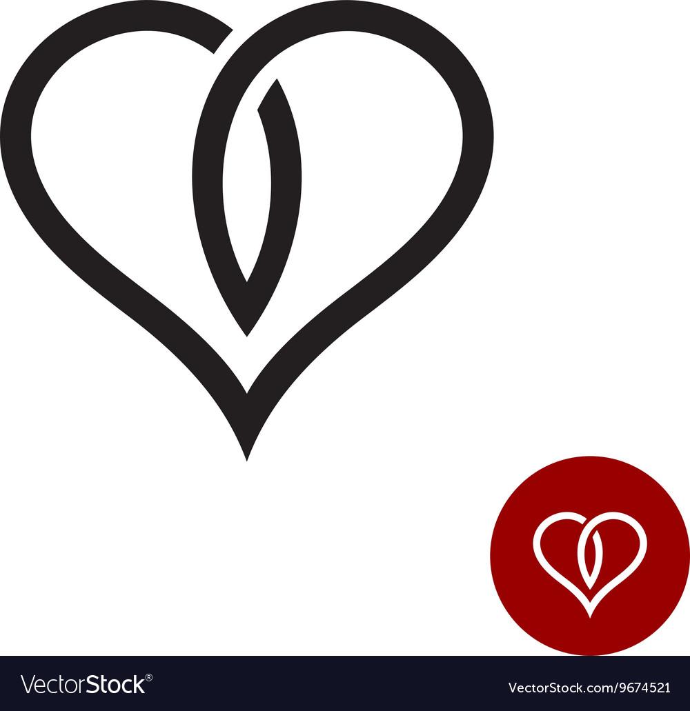 Heart outline logo Simple cross black wire style