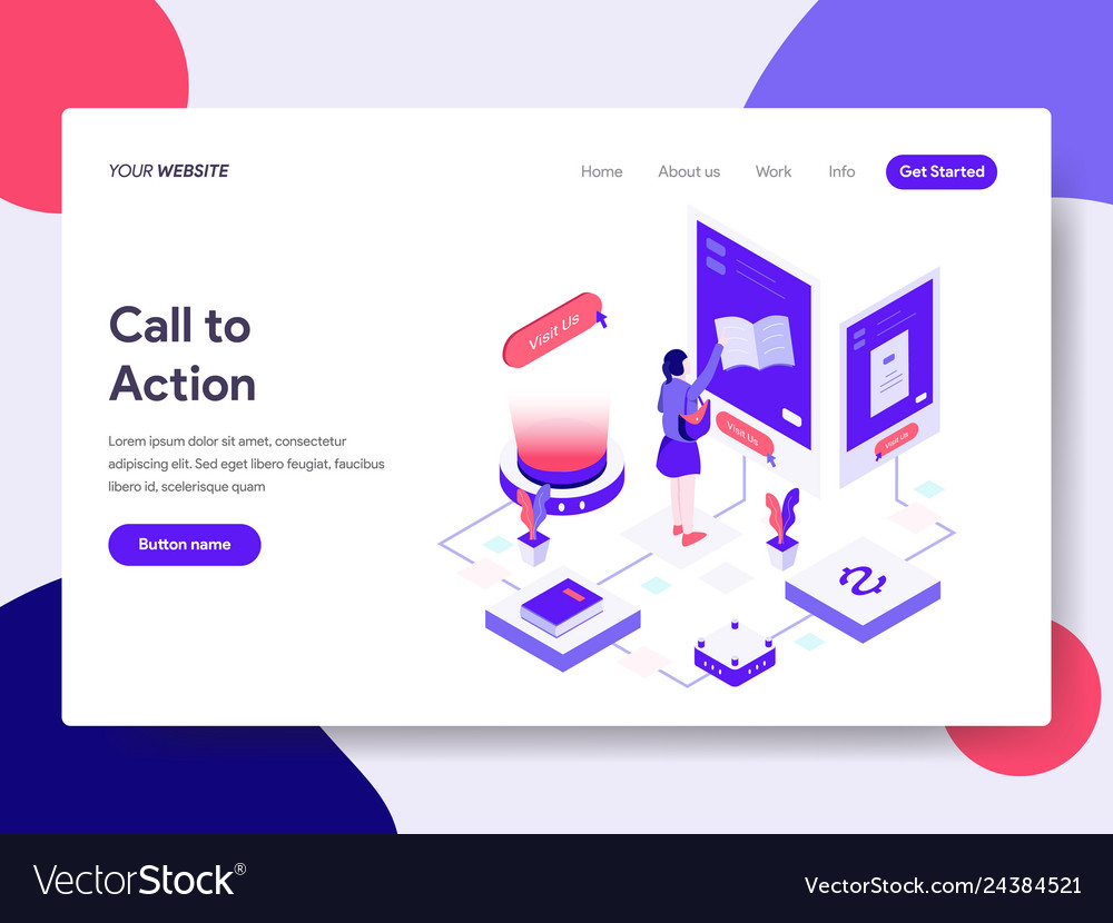 Landing page template of call to action concept