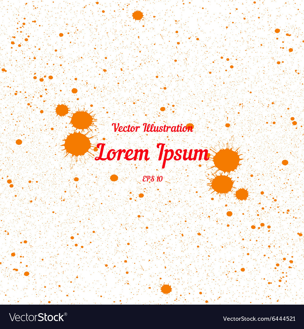 Orange bright ink splashes over white