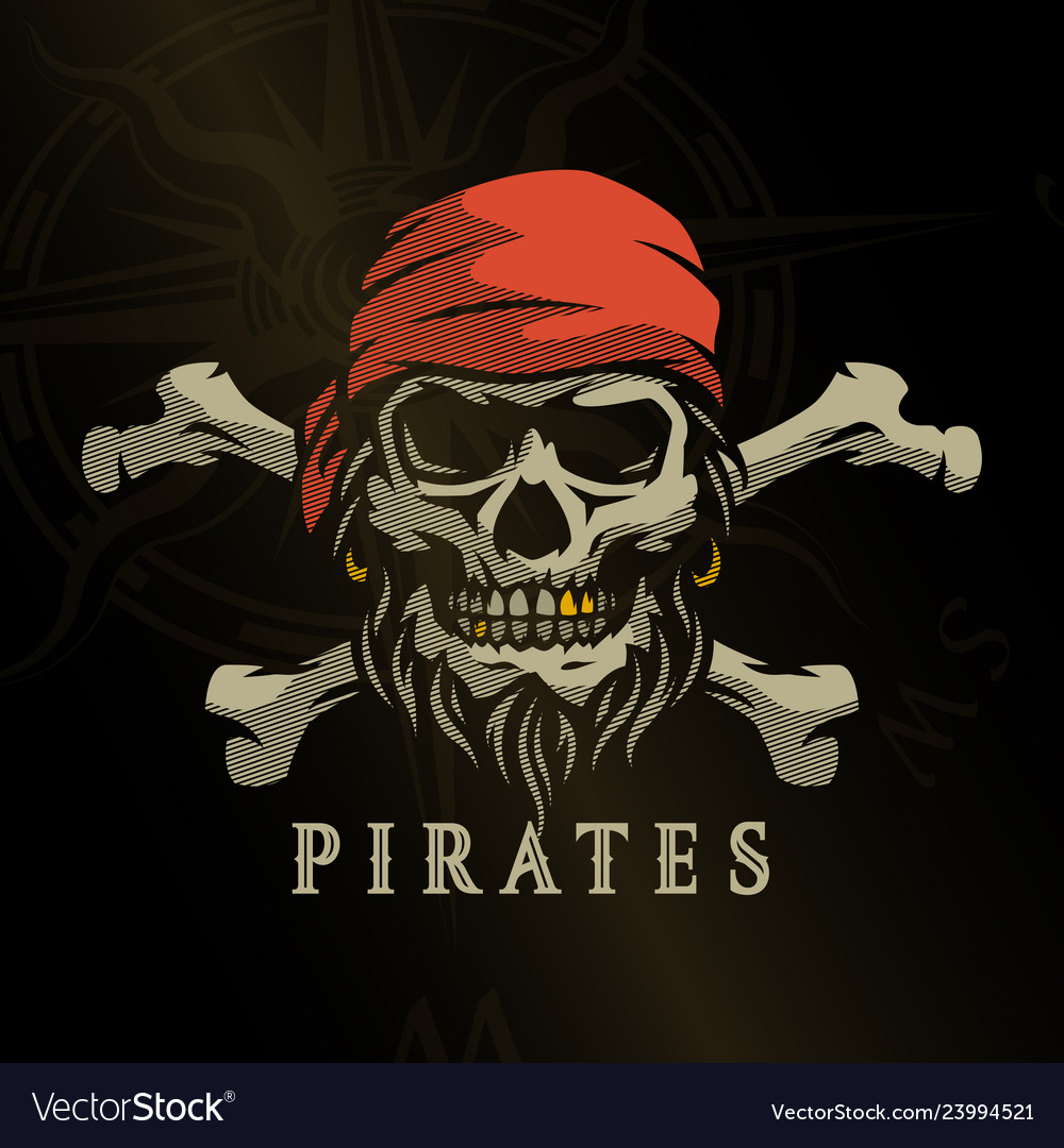 Pirate skull in vintage style skeleton head and