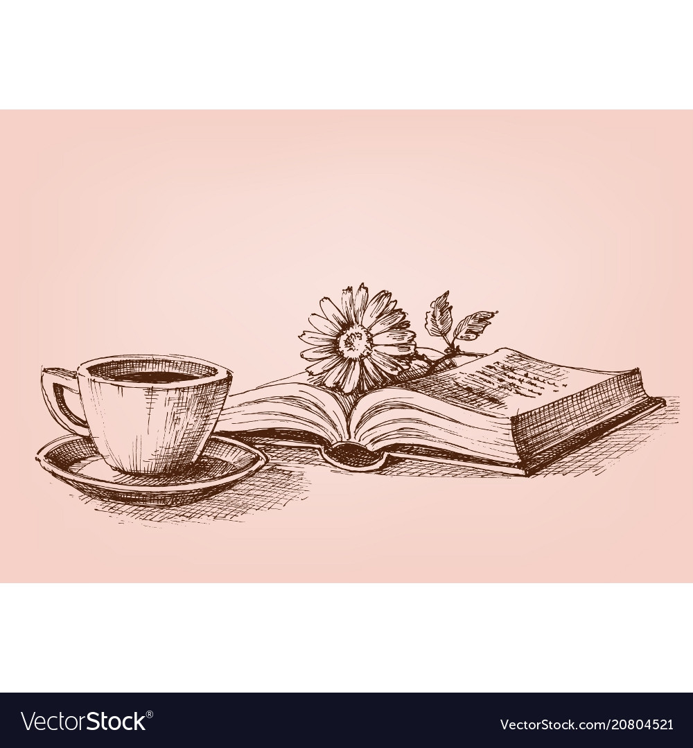 Reading a book conceptual drawing vector image