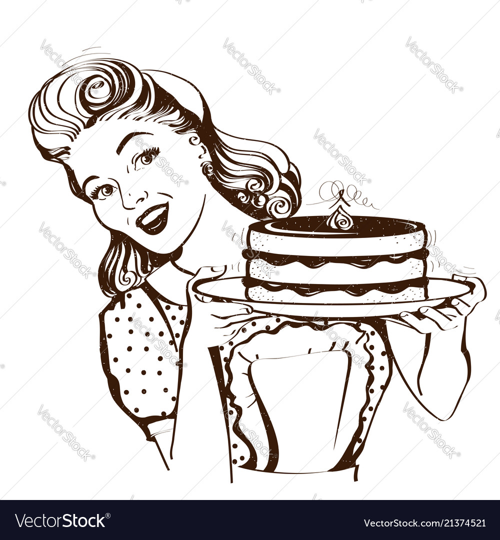 Retro smiling housewife holding big cake in her