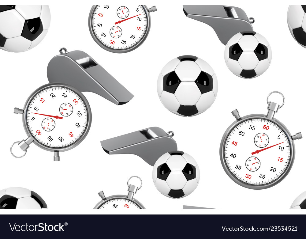 Seamless pattern of soccer ball whistle with a