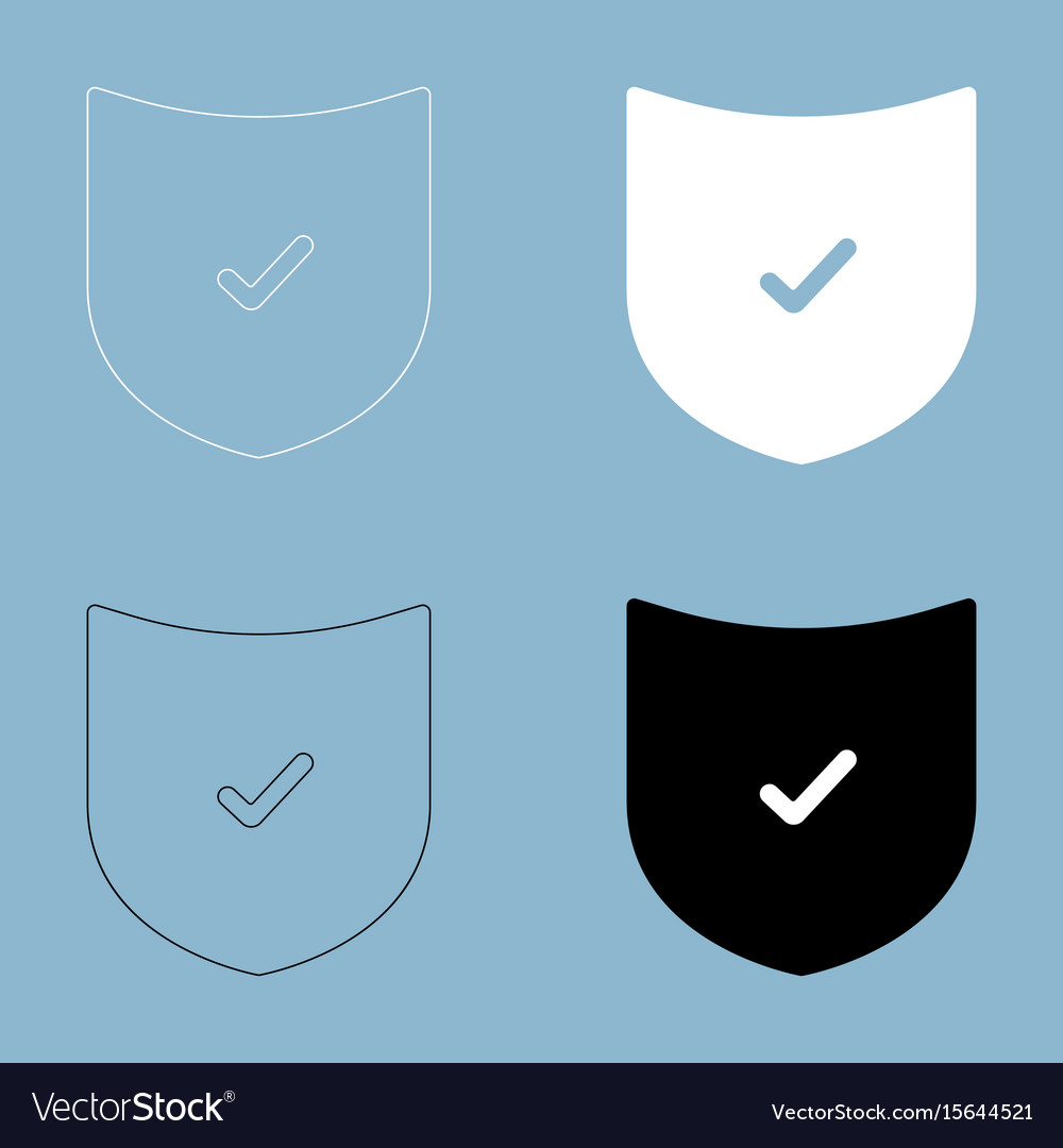 Shield the black and white color icon