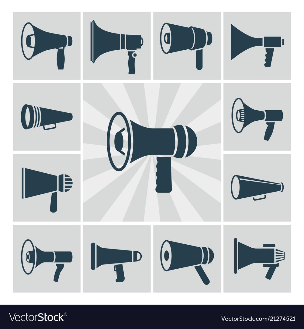 Speaker icons set flat megaphone