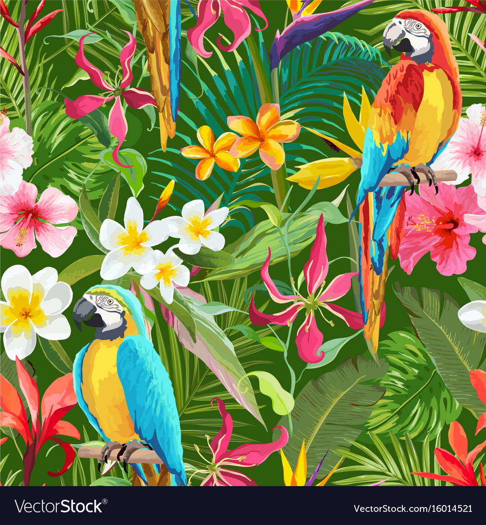 Tropical flowers and parrots seamless pattern vector image