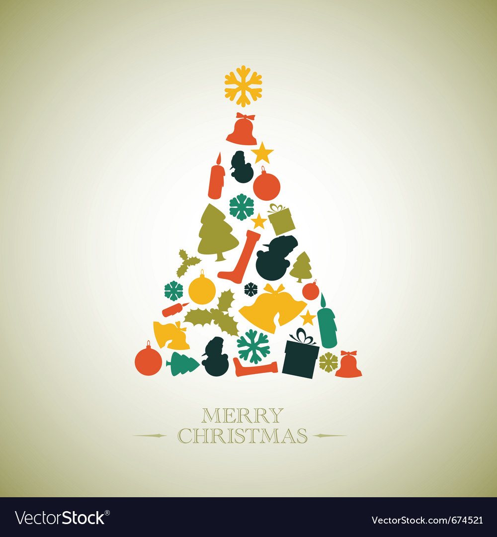 Vintage Christmas Tree Royalty Free Vector Image
