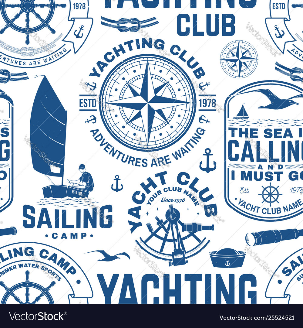 Yacht club seamless pattern or background