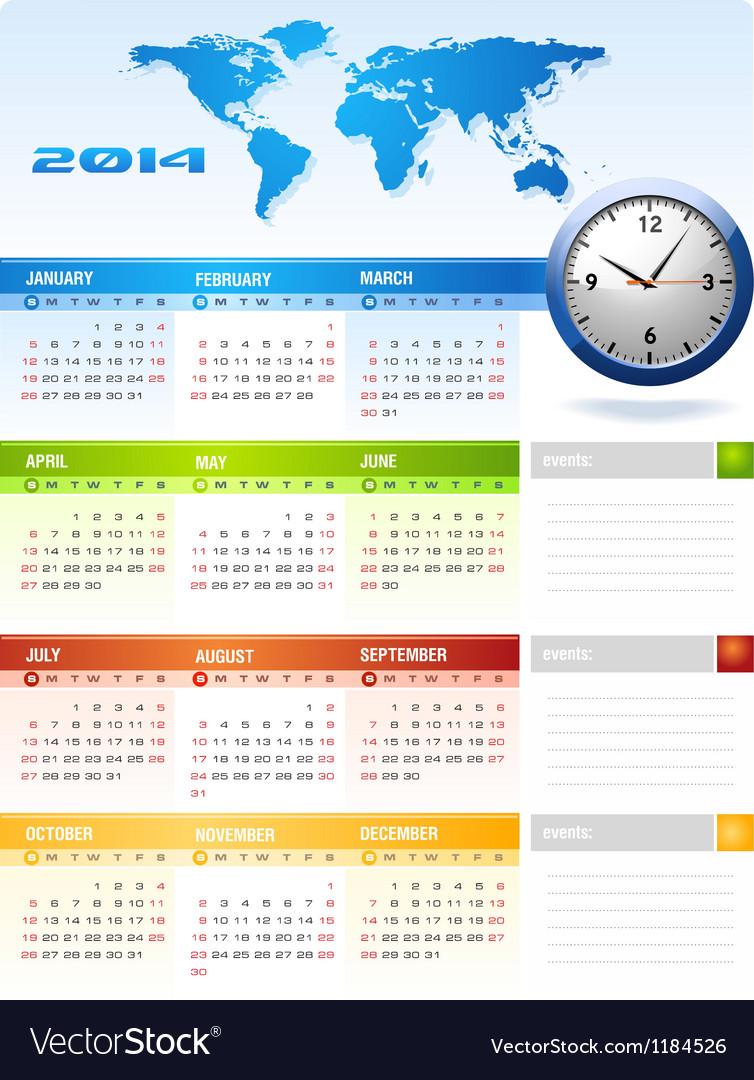 2014 Colourful Corporate Global Office Calendar