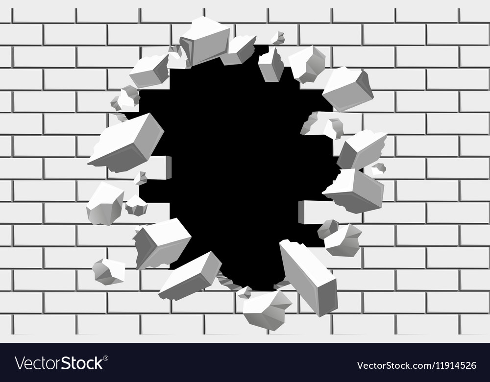 Brick wall break background Destroyed