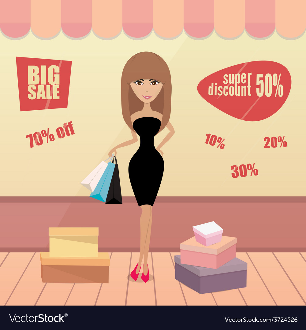 Girl or woman on shopping sale hold bags Retro vector image