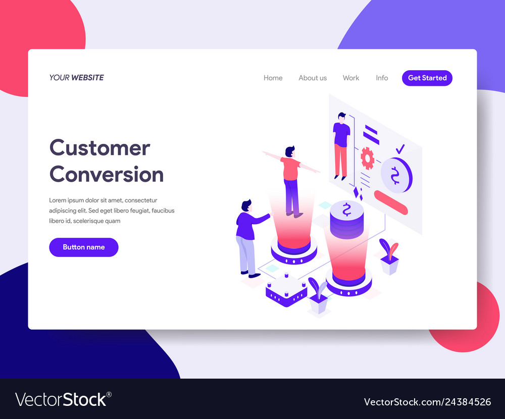 Landing page template of customer conversion