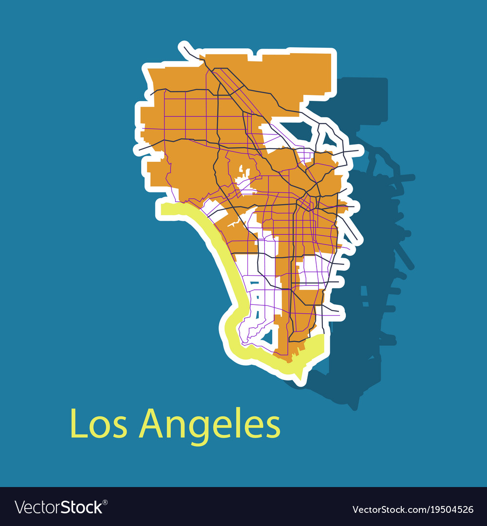 Los angeles map flat style design sticker vector image gumiabroncs Choice Image