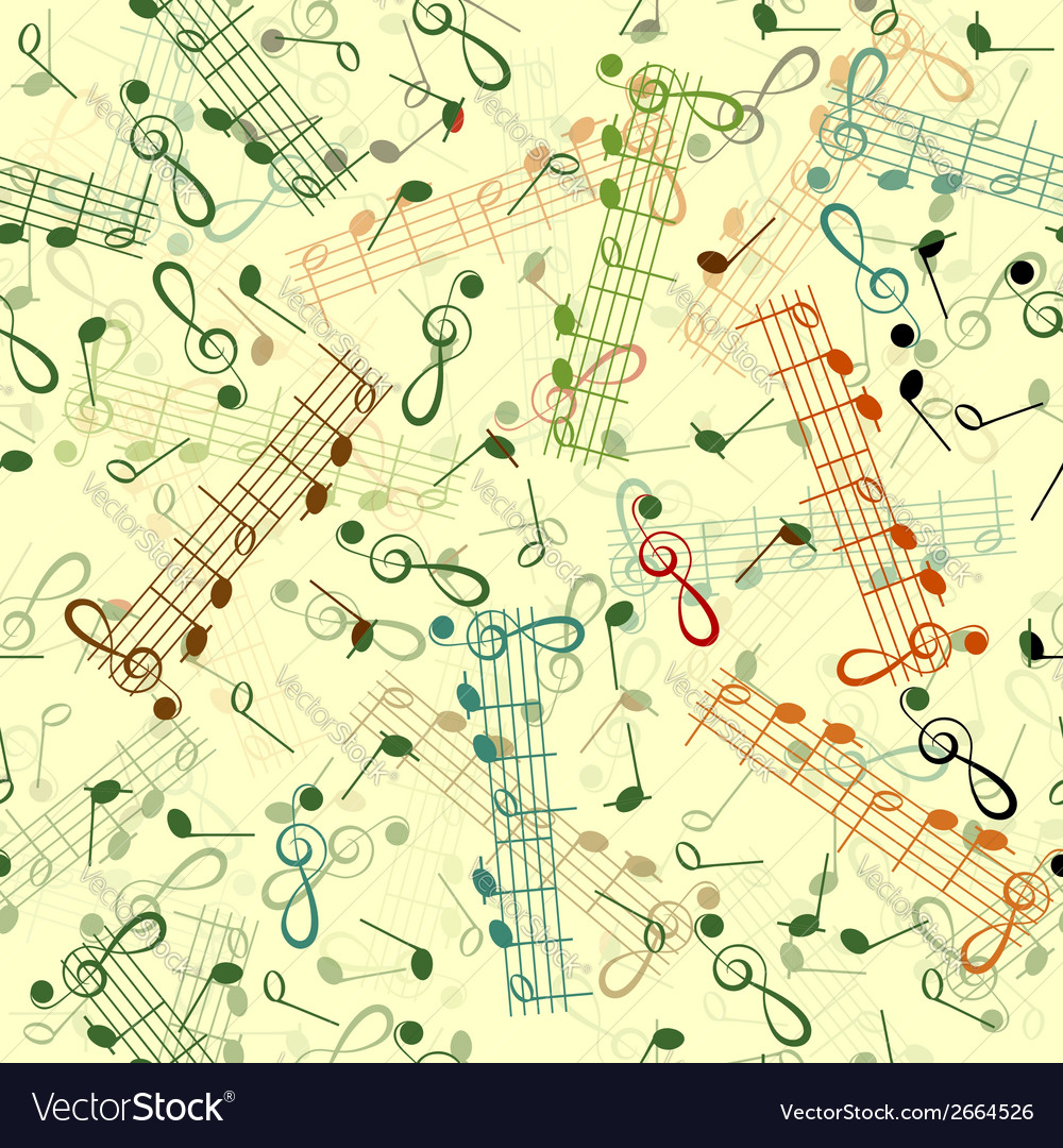 Music notation repeating pattern on a yellow vector image