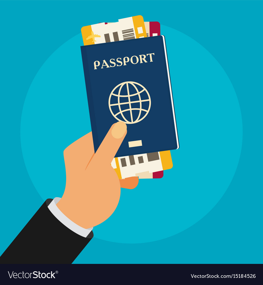 Passport with tickets in hand isolated on vector image