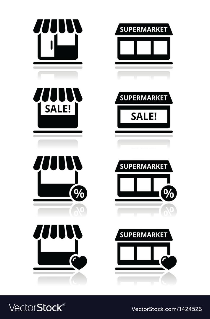 Single shop store supermarket icons set vector image