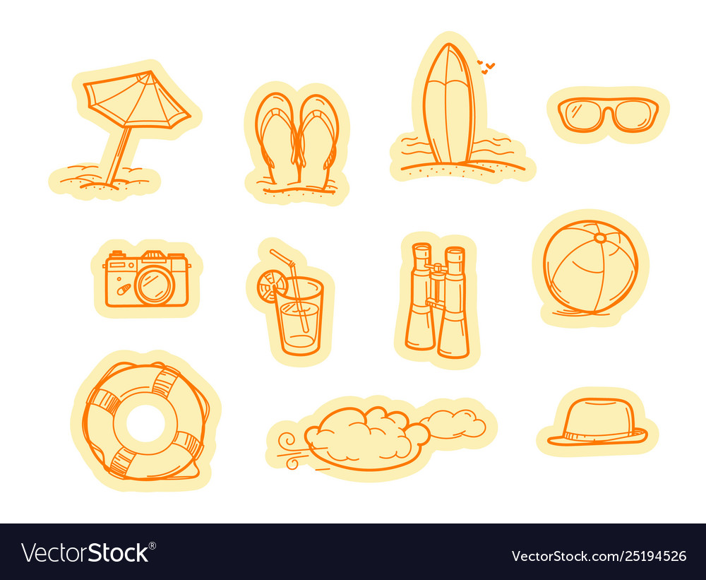Summer beach objects stickers stickers set