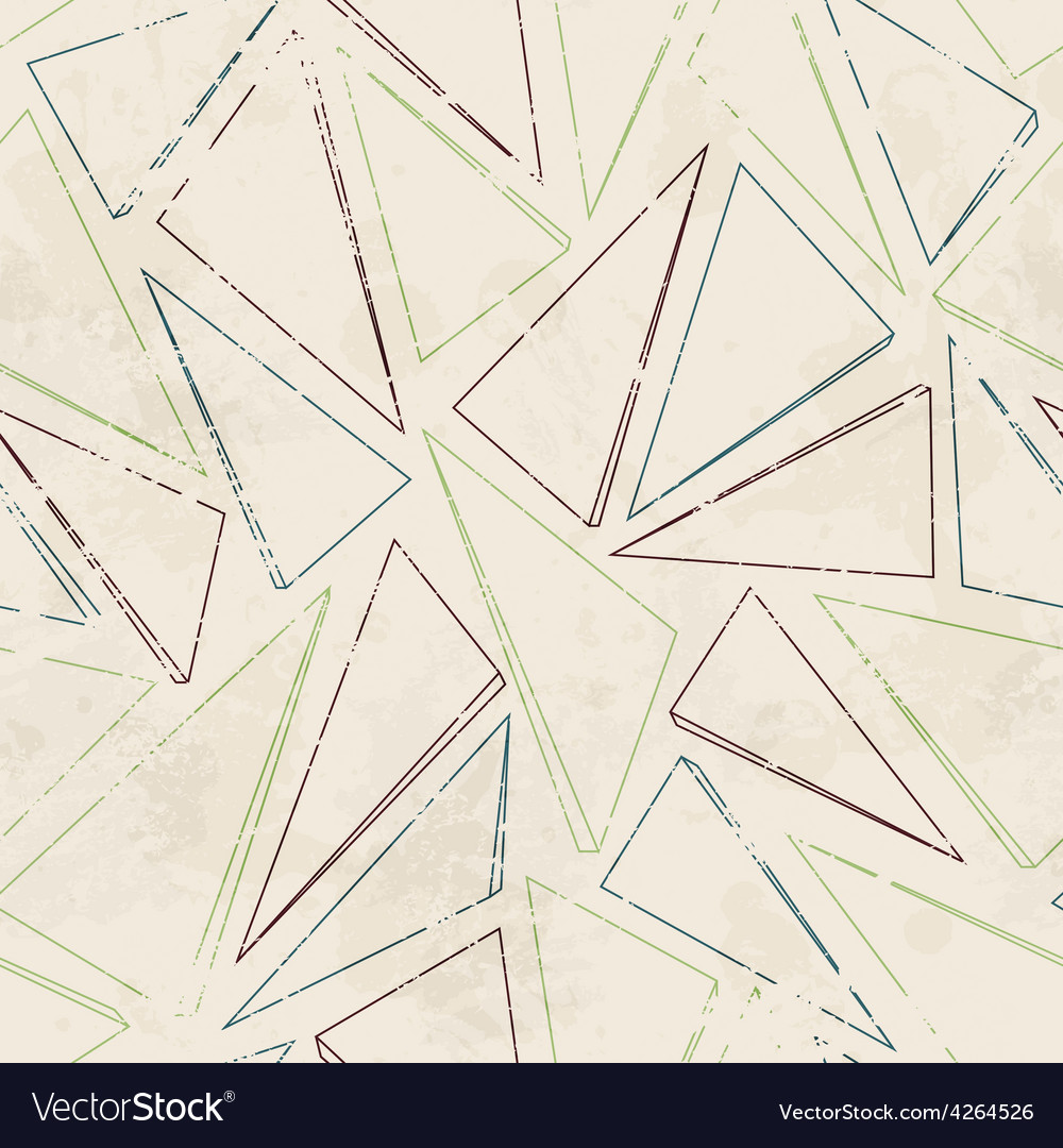 Triangle contour seamless pattern with grunge