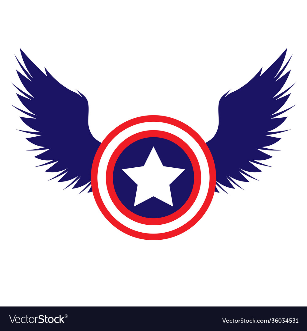 Captain america shield with wings color