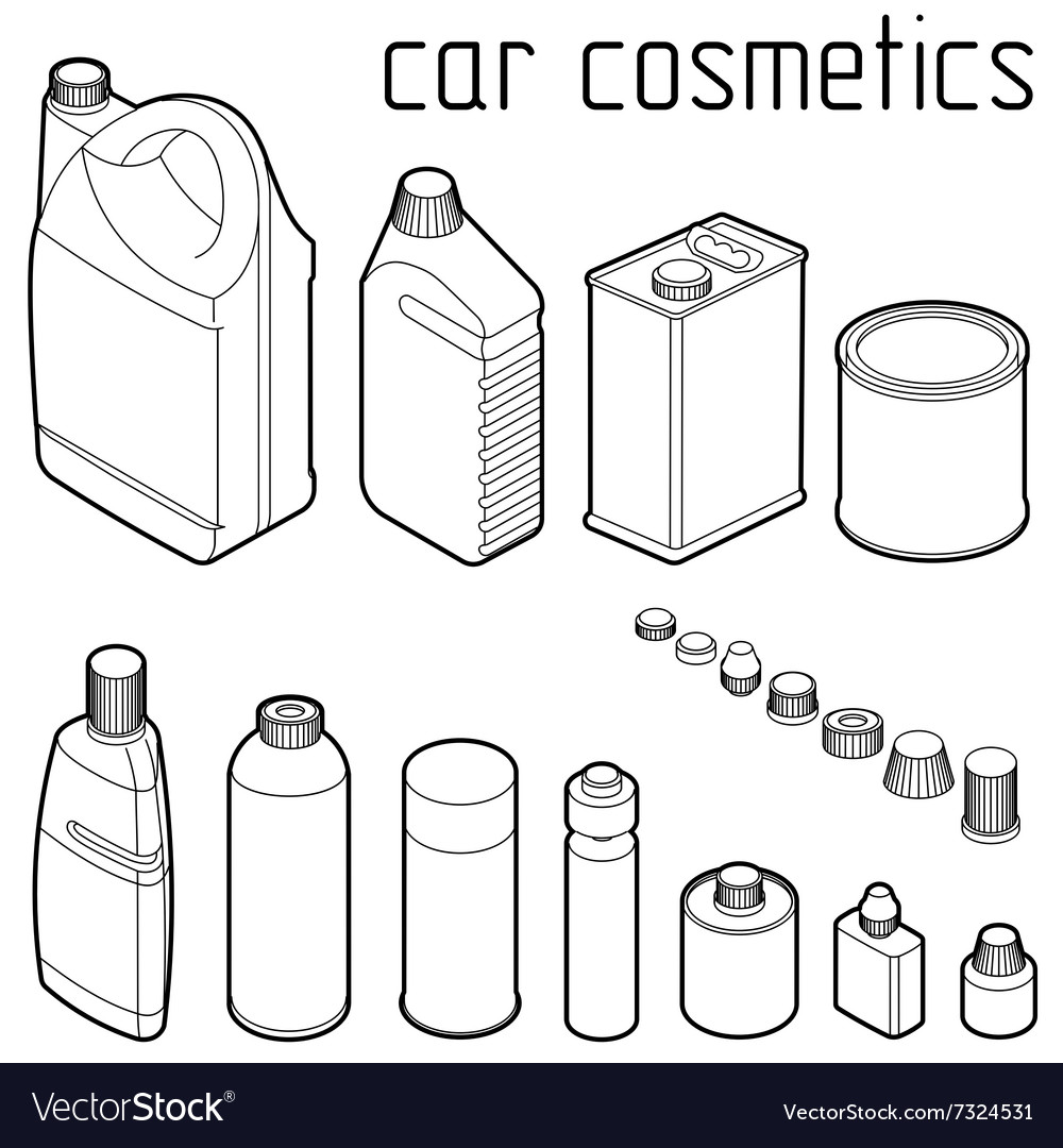 Car motor and engine oil cans anti freeze water vector image