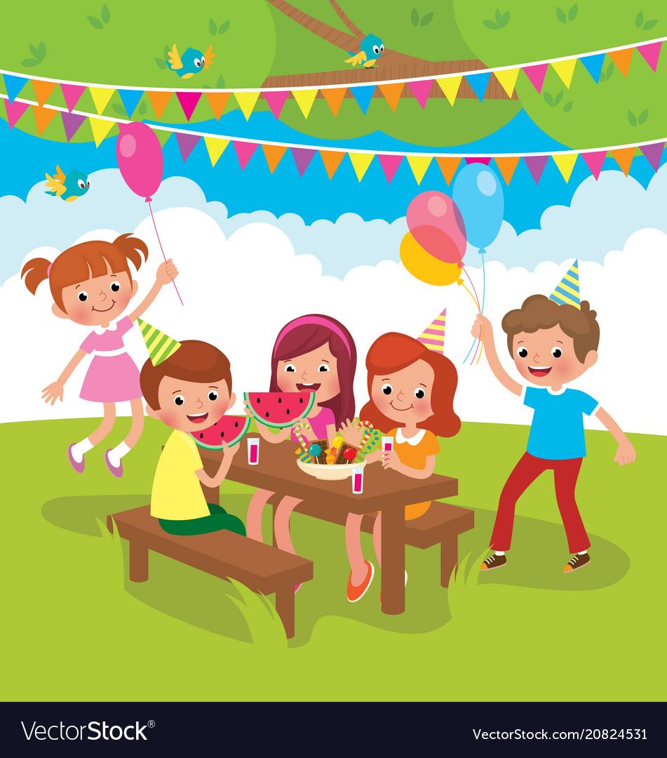 Children birthday party outdoors