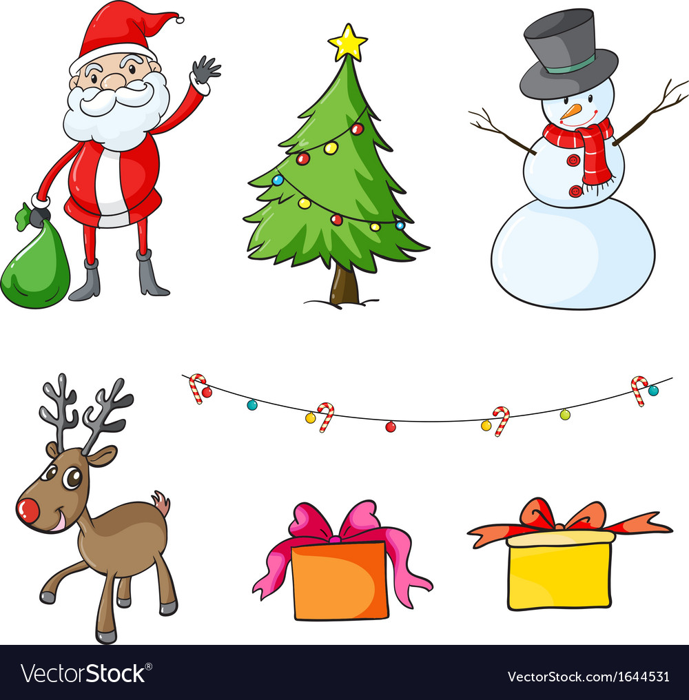 Different christmas symbols Royalty Free Vector Image