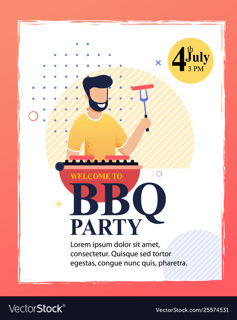 Flat Cartoon Invitation Flyer To Barbecue Party