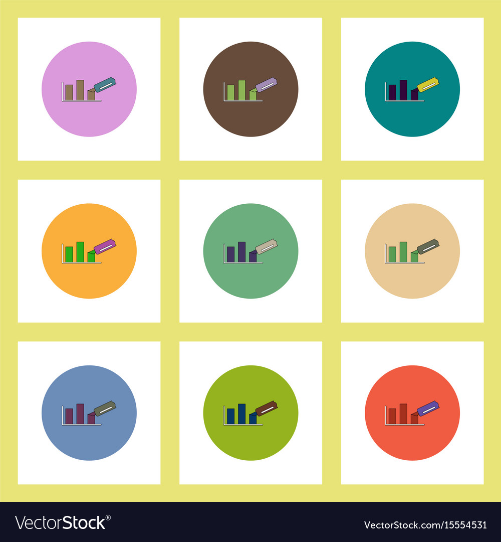Flat icons set of column chart and paper knife