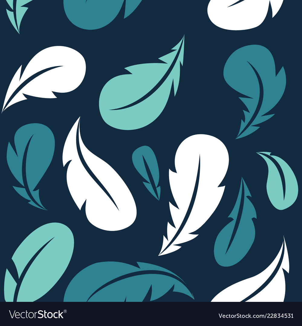Flying feathers seamless pattern design