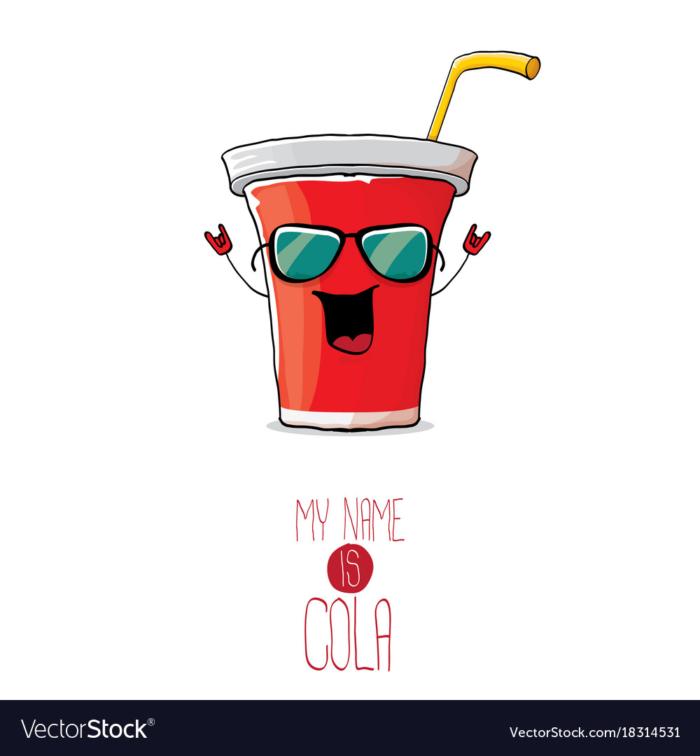Funny cartoon cute red paper cola cup with