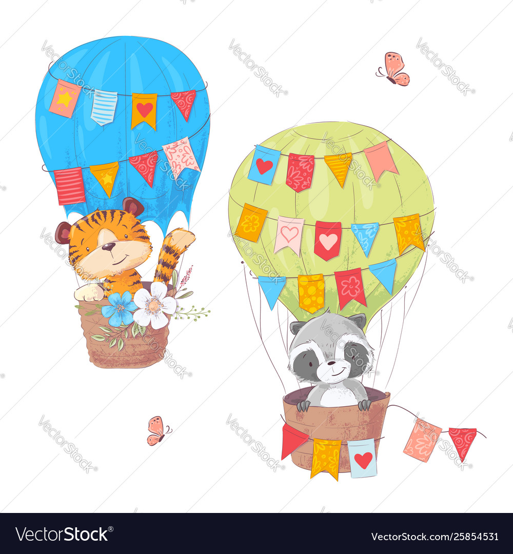 Set cartoon cute animals lion and raccoon in a