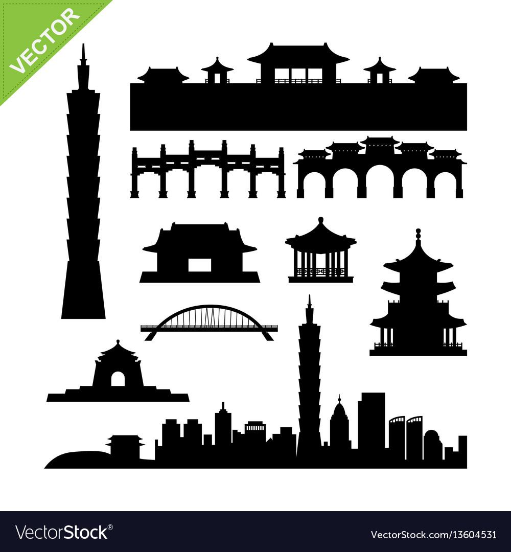 Taiwan taipei landmark silhouettes