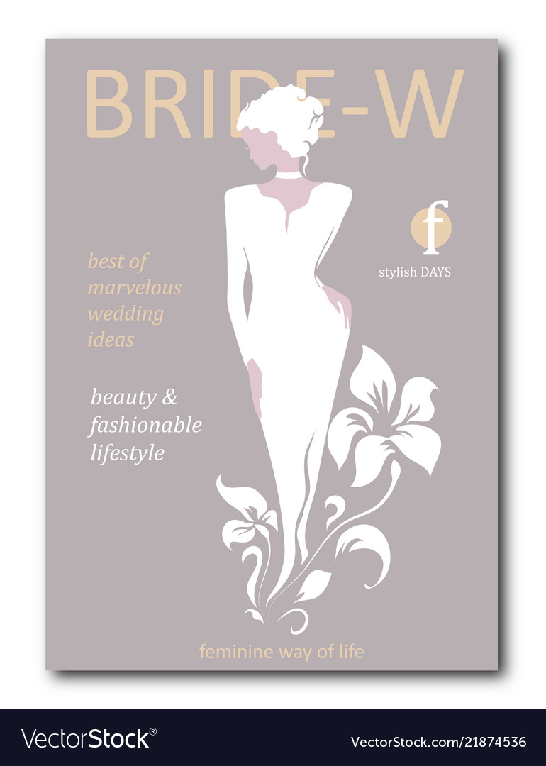 Abstract bride woman with floral with silhouette