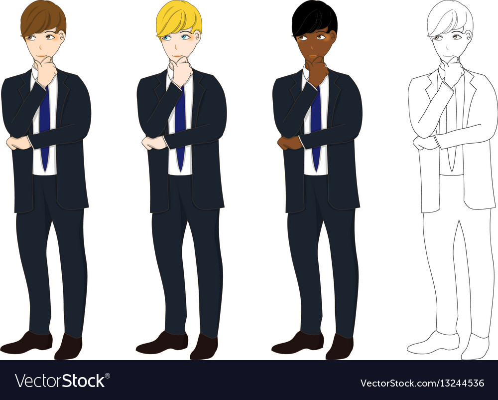 Business man thinking vector image