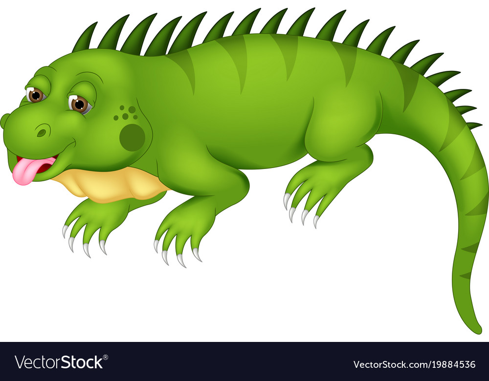 Cute iguana cartoon posing with laugh