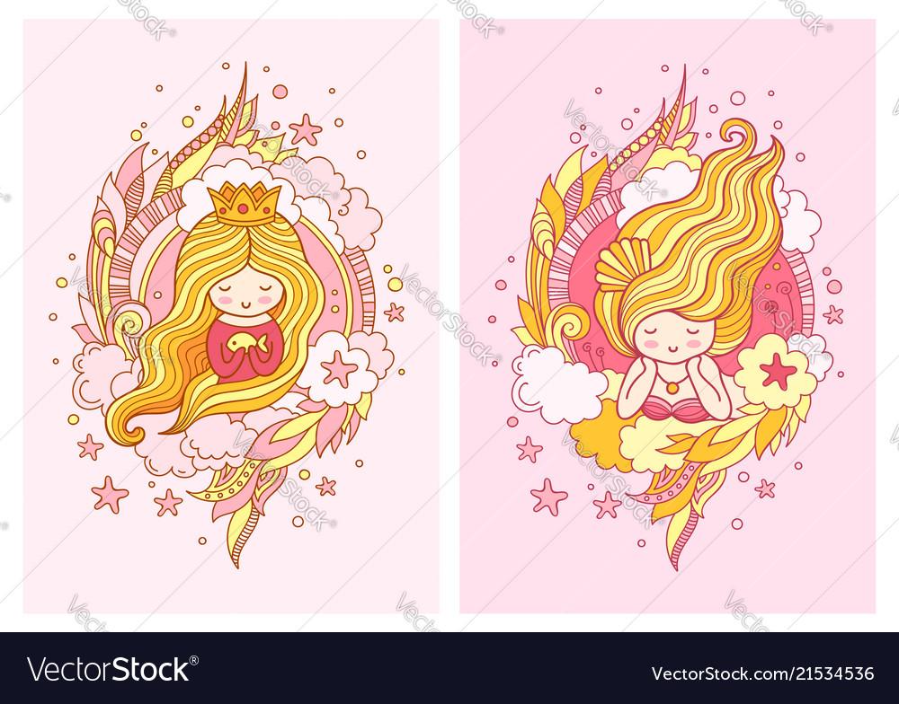 Cute little princess with light blond long hair