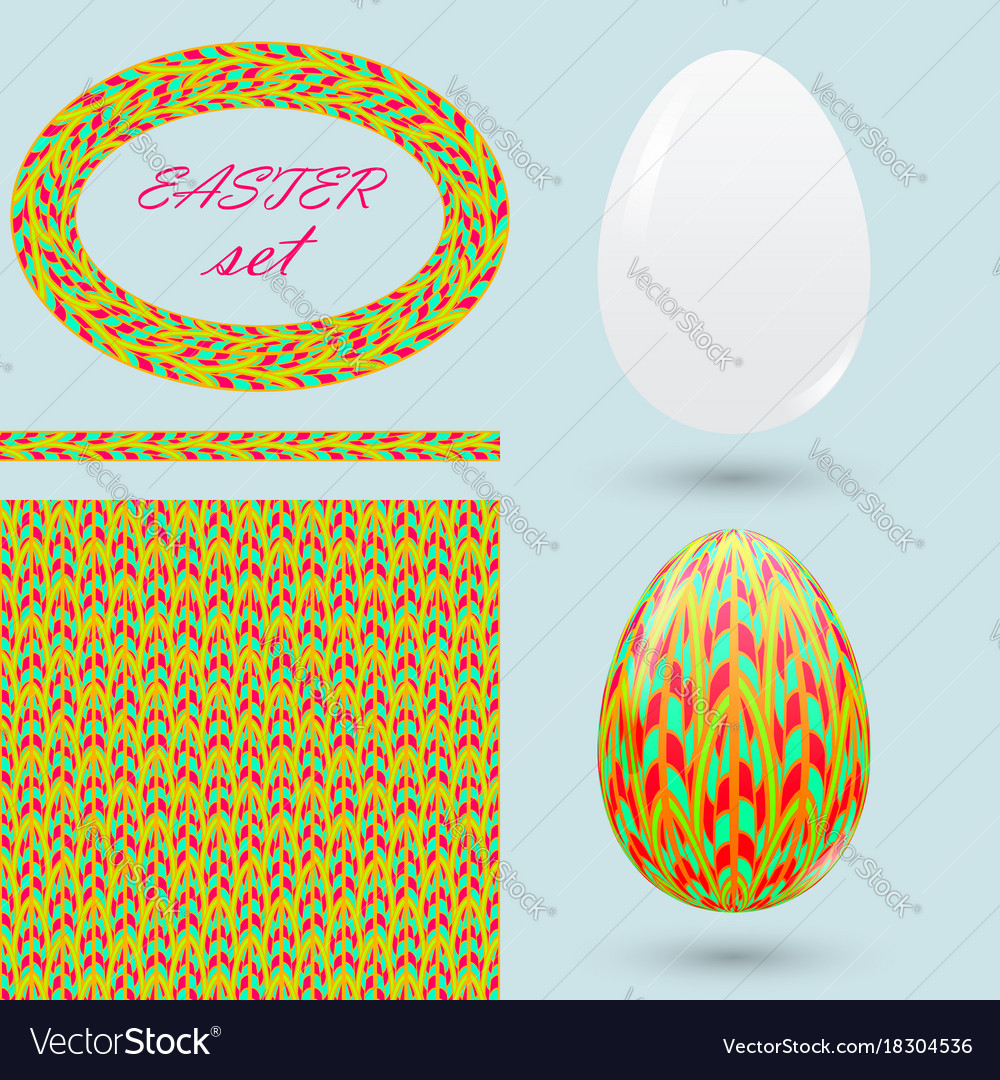 Easter set with eggs seamless pattern frame and