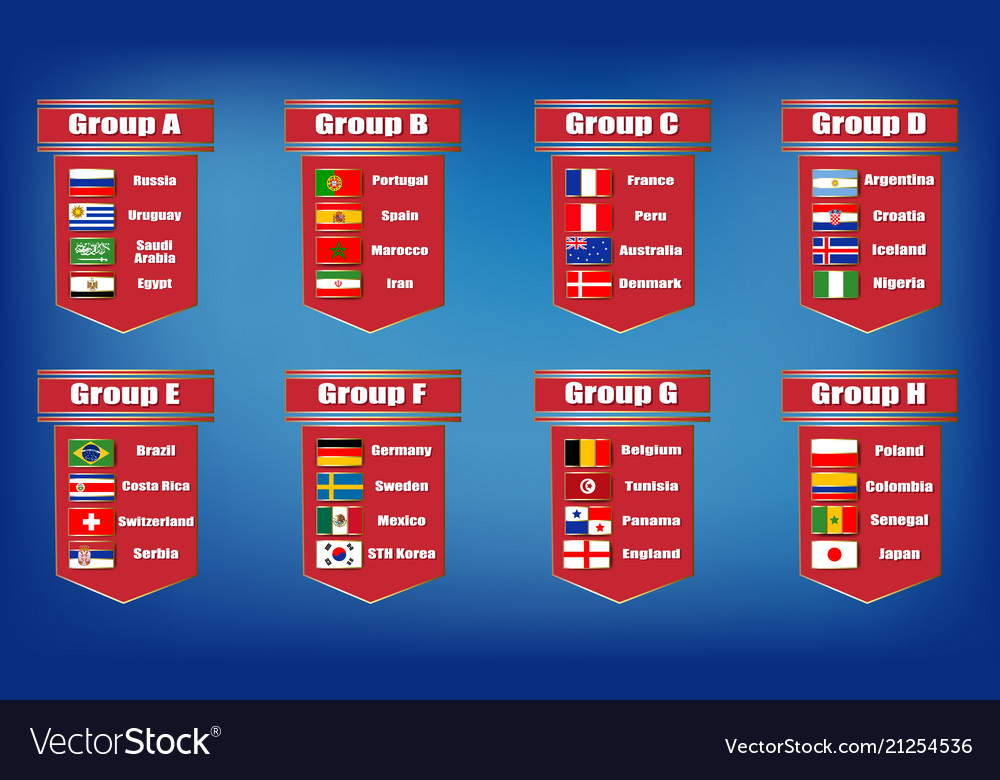 Football groups championship flags icons of the