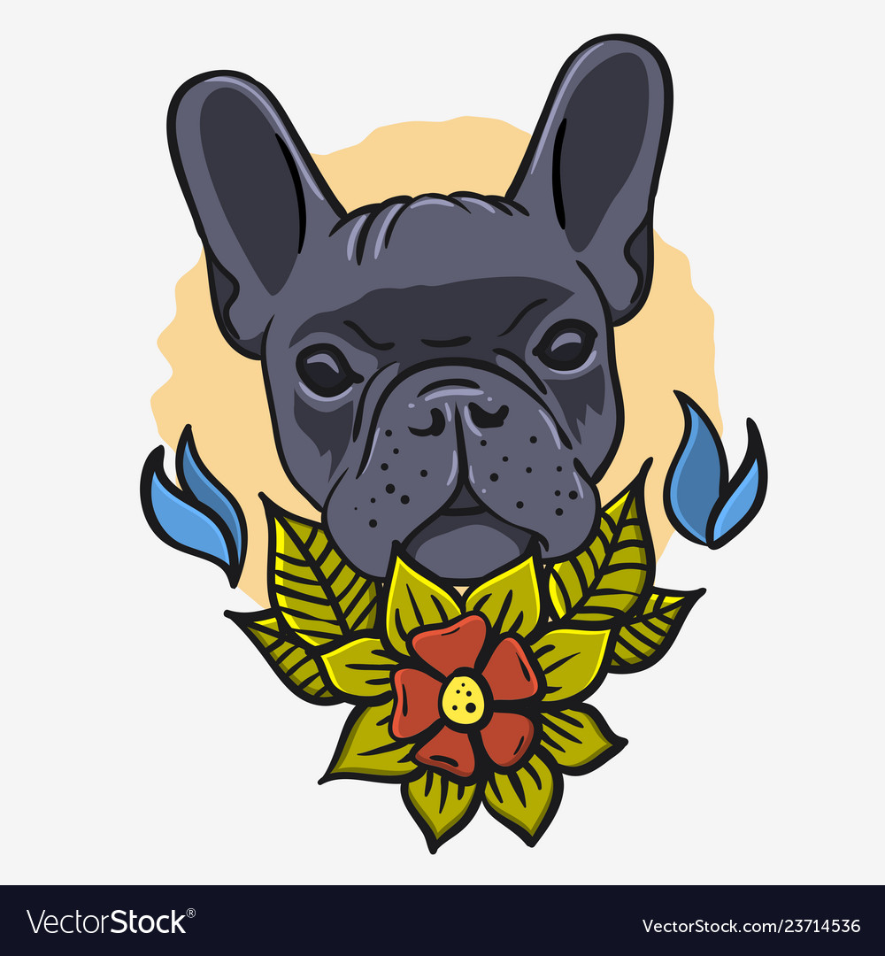 French bulldog vintage traditional tattoo