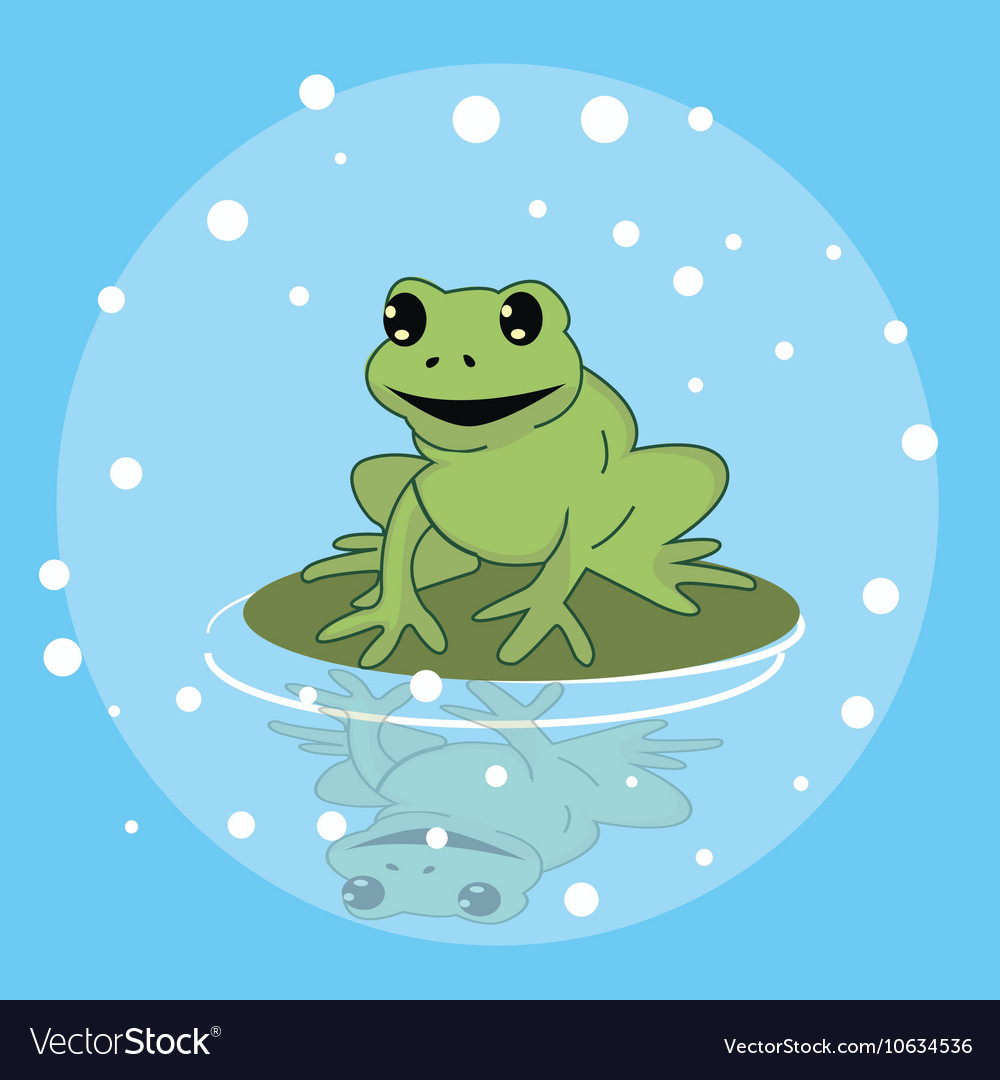 Frog smile character above leaf in pond funny cute vector image