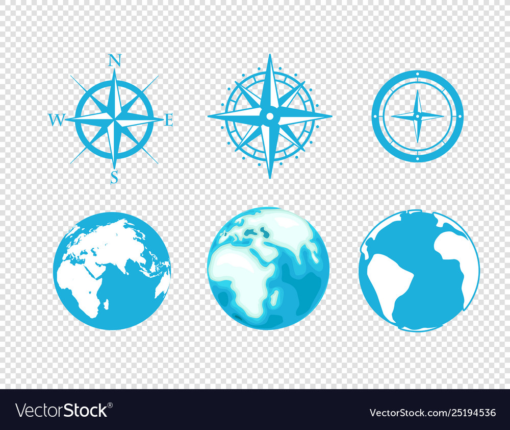 Globe and wind rose icons isolated on transparent