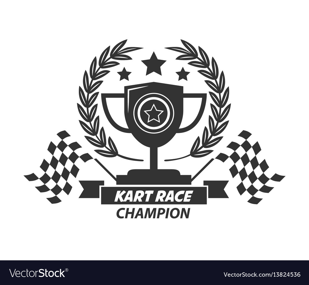 Karting logo champion cup laurel wreath stars